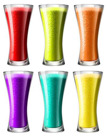vaso de jugo: Smoothies en ilustración de vidrio
