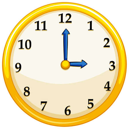 Yellow round clock with blue needles illustration