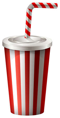 Soft drink in striped cup illustration