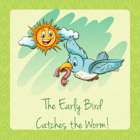 Early bird catches the worm illustration Illustration