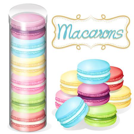 macaron: Macaron in plastic container illustration Illustration