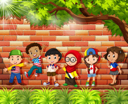 international flags: Children from different countries standing under the tree illustration Illustration