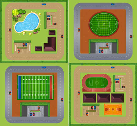 tennis stadium: Sport fields and courts illustration