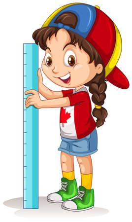 ruler: Canadian girl with measuring ruler illustration Illustration