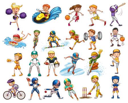 deportistas: Diferentes tipos de ilustración deportes