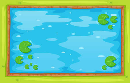 water lilies: Small pond from top view illustration