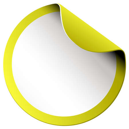 Yellow round sticker on white illustration