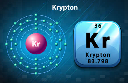 electron: Krypton symbol and electron diagram krypton illustration
