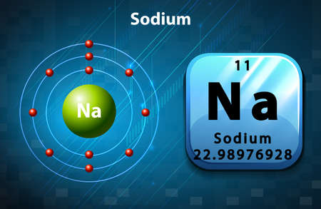 Periodic symbol and diagram of Sodium illustration Illustration