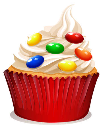 cupcake illustration: Cupcake with cream and decoration illustration