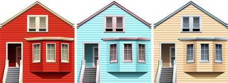 wooden houses: Wooden houses in different colors illustration