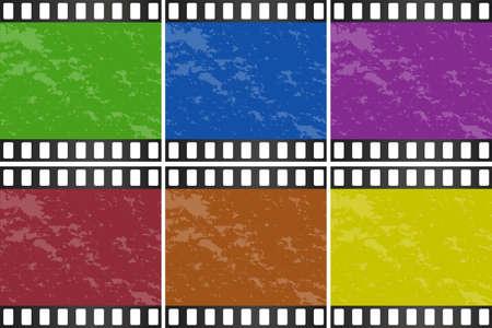 entertainment equipment: Six different color of movie slide illustration Illustration