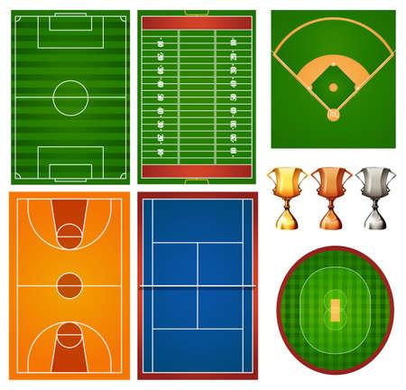Verschillende sport rechtbanken en de trofee illustratie Stock Illustratie