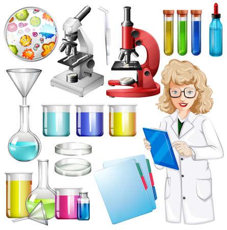 microbiologia: Científico con el equipo de la ciencia ilustración Vectores