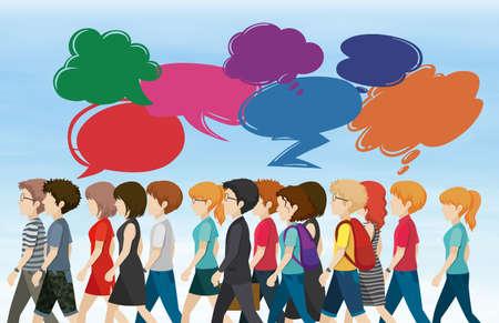 middle class: La gente que camina con discursos burbuja ilustración