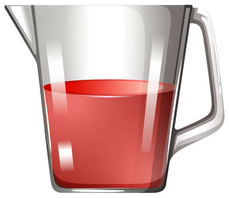 substances: Glass beaker with red liquid illustration