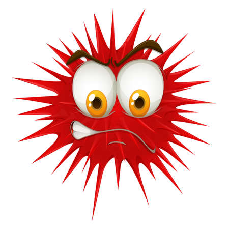 funn: Red thorn ball with angry face  illustration