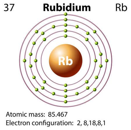 electron shell: Symbol and electron diagram for Rubidium illustration Illustration