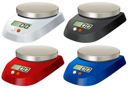 measuring: Lab scale with metal tray illustration