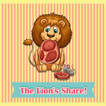 figurative: Old saying Lion share illustration