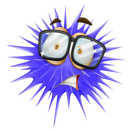 megrémült: Kék tüskés labda ijedt arcot illusztráció