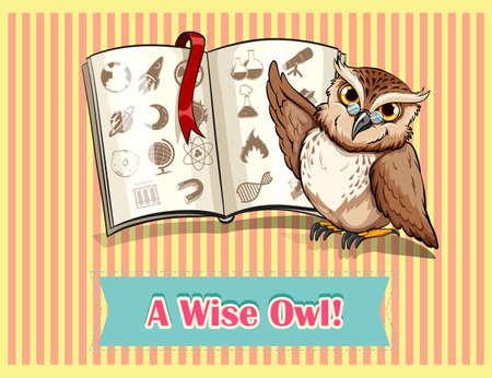 book mark: Owl reading science book illustration Illustration