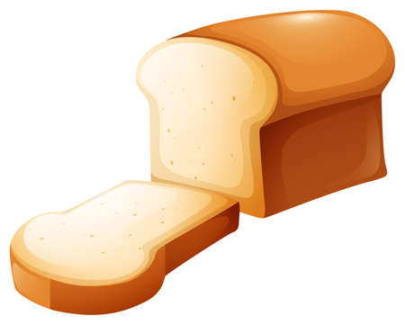 Loaf of bread and single slice illustration