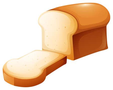 Hogaza de pan y la ilustración sola rebanada Foto de archivo - 45062256