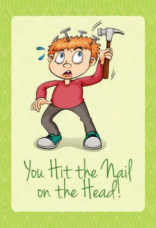 hit: Hit the nail on the head illustration