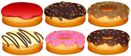 toppings: Set of different toppings donuts illustration