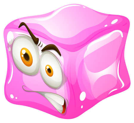 six objects: Pink cube with angry face illustration Illustration