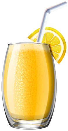 fresh juice: Orange smoothie in glass illustration