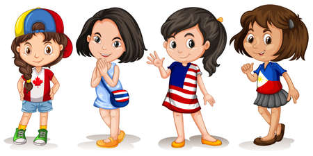 foreigner: Girls from different countries  illustration