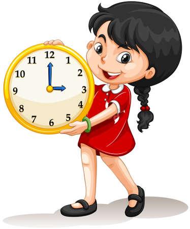 personas de pie: Muchacha que sostiene la ilustración amarilla del reloj Vectores