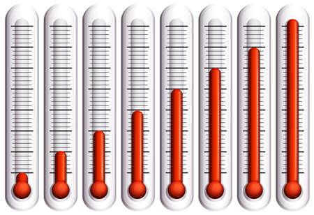 termómetro: Conjunto de termómetros en blanco ilustración Vectores