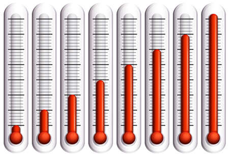 rising temperature: Set of thermometers on white  illustration