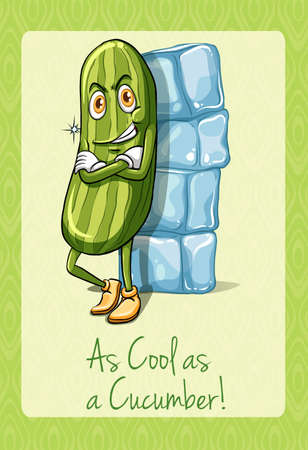 illustration cool: Idiom as cool as cucumber illustration