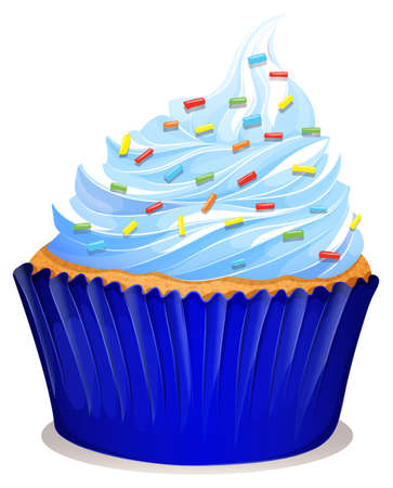 cupcake illustration: Blue cupcake with frosting illustration Illustration
