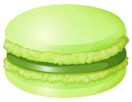 macaron: Green macaron with cream illustration