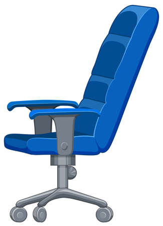 wheel chair: Office chair in blue color illustration