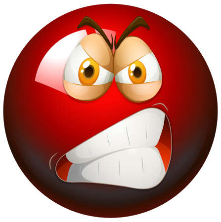 object with face: Angry face on red ball illustration