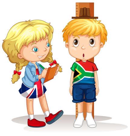 Chico y chica medir la altura de la ilustración Foto de archivo - 45062468