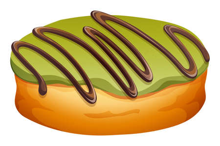 Doughnut with green and chocolate frosting illustration Illustration