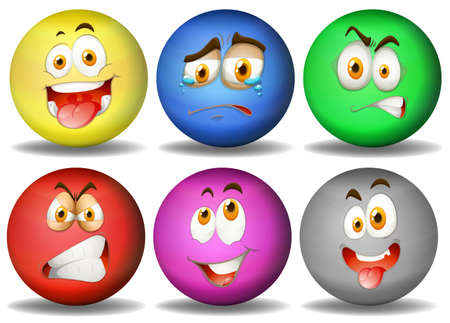 smile ball: Facial expressions on round balls illustration