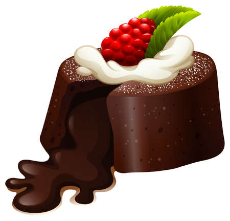 chocolate cake: Chocolate lava cake with rasberry   illustration