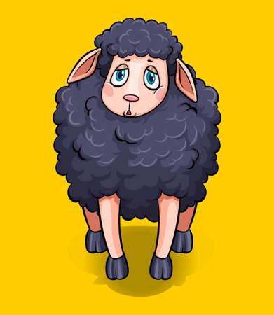 black sheep: Black sheep on yellow background  illustration