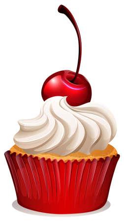 cupcake illustration: Red cherry cupcake on white illustration