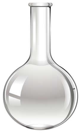sceince: Glass beaker on white illustration