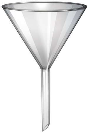 Glass funnel on white illustration