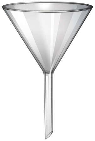 Glass funnel on white illustration